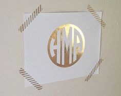 "Circle Monogram - Authentic Gold Foil Print on White Cardstock, 8.5"" x 11"""