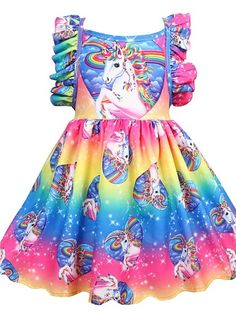 Children Princess Dress Dresses For Girls Flower Cartoon Girl Cosplay Unicorn Dress Unicorn Fancy Dress, Unicorn Party, Cheap Girls Clothes, Tutu Rock, Robes Tutu, Girls Dresses Online, Baby Girl Christmas, Daily Dress, Baby Girl Dresses