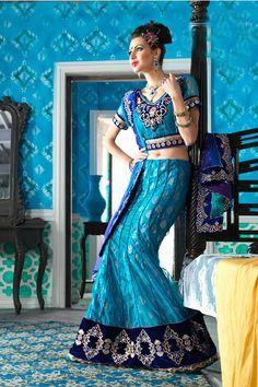 Designer Net - Brocade Lehnga Choli and Duppata 6990 INR