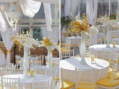 Love this pristine white and yellow decor!