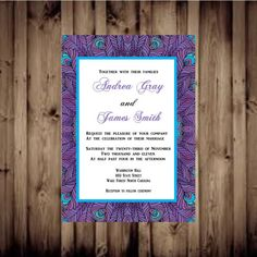 purple peacock Wedding Invitation by GlamourCards on Etsy, $1.00