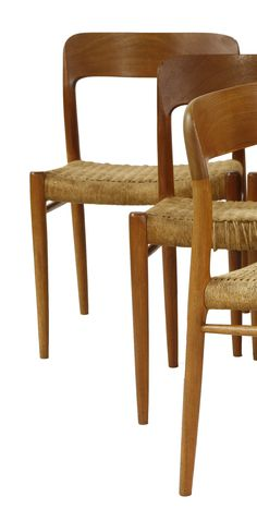 A set of six teak dining chairs, by Niels O Møller for J. L. Møller, with papercord seats Sold for£380 2nd June 2015