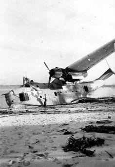 Damaged by friendly anti-aircraft fire near Okinawa flying boat PBM-5 Mariner, summer 1945