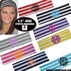 "Monogrammed 2.5"" Wide Stretch Headband - STRIPES - Miss Lucy's Monograms"