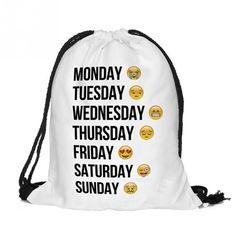 We all need a place to stash our stuff so why not make it personal with this lightweight, drawstring backpack? The exterior is featuring days of the week and emojis. The interior? That's where you tos