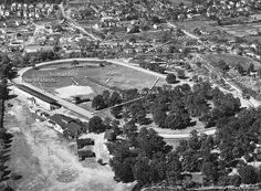 Lynchburg Fairgrounds, 1923 - Lynchburg, Virginia | A labelled view of the Lynchburg Fairgrounds in 1923, from an Underwood & Underwood aerial view courtesy of the Jones Memorial Library. Today the site of the Lynchburg City Stadium, the fairgrounds included a horse racing track, stables and stalls, a football field and viewing stands.  This image is courtesy of the Jones Memorial Library and is part of the RetroWeb Visual History of Lynchburg, Virginia
