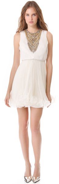 Marchesa Pleated Cocktail Dress with Crystals in Beige (ivory) - Lyst