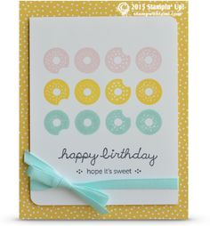"""Today's Stampin Up card idea is delicious, filled with donuts and has 0 calories. Perfect for the sweet tooth.  """"Happy Birthday, hope it's sweet"""" comes from Sprinkles on Top stamp set. The back..."""