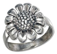 Sterling Silver Antiqued Sunflower Ring size 09 *** To view further for this item, visit the image link. Sunflower Ring, Sunflower Jewelry, Jewelry Companies, Jewelry Stores, Antique Rings, Antique Jewelry, Blue Topaz Necklace, Garnet Necklace, Sterling Silver Cross Pendant