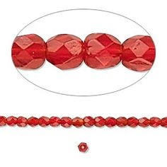 Bead, Preciosa® Czech fire-polished glass, ruby red, 3mm faceted round. Sold per 16-inch strand.