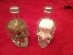 Skull vodka bottle salt and pepper shakers