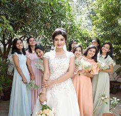 Wedding Bridesmaids, Bridesmaid Dresses, Wedding Dresses, Christian Bride, Casual Frocks, Peach And Green, Flower Girls, Indian Bridal, Fashion Boutique