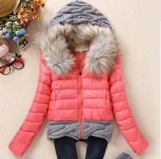 Little Elf! 2016 Women Winter Coat Cotton Padded Jacket Short Knitted Hood Fur Collar Cotton Padded Parkas Ladies Outwear SY005