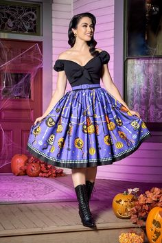 Pinup Couture Natalie Swing Dress in Lantern Border Print - Every Day Is Halloween - Collections | Pinup Girl Clothing
