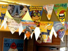 Menomonie Public Library children's room is decorated with a colorful banner sewn from book jackets (Jodi Bird)