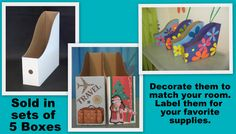 """Paper Storage Boxes are: 13 1/2""""   Front to Back 13 1/4""""   Top to Bottom 3 7/8""""      Wide $18/5  Holds up to 500 sheets of 12x12 cardstock or paper."""