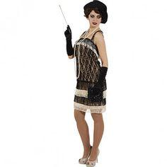 Charleston Lady Flapper Kostüm schwarz-beige
