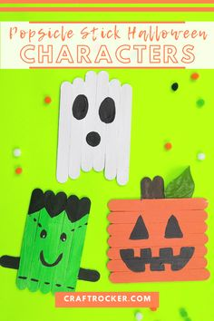 Get ready to craft some adorableness with these popsicle stick Halloween characters. They're a great non-spooky decoration kiddos can make! #halloweencraft #craftrocker