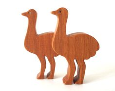 Waldorf Ostrich Toy Cherry Wood Miniature Noah's Ark Animal Zoo Play Set Hand Cut Scroll Saw