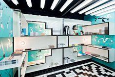Shop Oh Wow book club, New York | Rafael de Cardenas | new york store | colorful store | blue retail design | accessories store | retail store | new york shop | graphic interior design