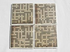 Decorative Tile Coasters Fascinating 4 Tile Coasters In Crossword Themefromdirttodiamonds On Etsy Inspiration Design