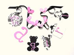 LOVE LOVE LOVE this!!! Pink and Black Damask baby shower decorations by ParkersPrints, $16.50