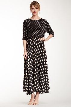 Magnolia Long Silk Polka Dot Dress on HauteLook