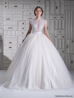 chrystelle atallah spring 2014 illusion cap sleeve princess ball gown wedding dress