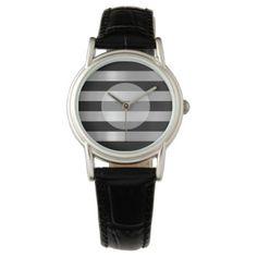 #stylish - #Black & Silver Metallic Stripes Wrist Watch