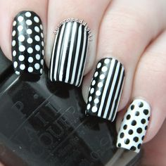Black and white stripes and dots nails by decorateddigits