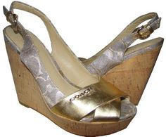 http://fbfanpages.us/pinnable-post/coach-signature-jessy-gold-slingback-cork-wedge-sandals/ Coach Wedge shoes are made with metallic Signature fabric and metallic leather. Leather cross wraps the toes. Cork wedge with leather sole. Padded foot bed with adjustable buckle with stretch back.