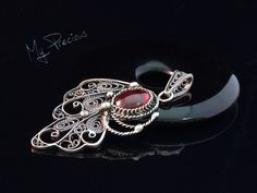 My Precious - Fine silver filigree pendant with Garnet cab.
