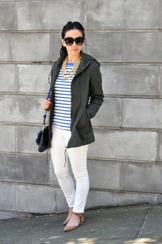 white jeans + stripes + jacket