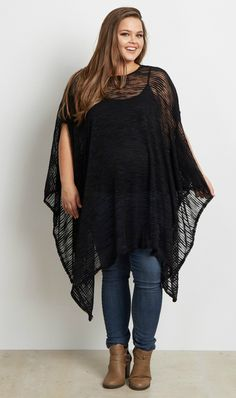This sheer plus size maternity poncho is the perfect casual essential this season. Wear this maternity poncho with a cami underneath, maternity jeans, and boots for a perfect casual look. Dress it up with a long necklace and heels for an easy date night look.
