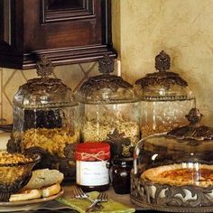 You can never have too much of the Gracious Goods. The GG Collection Glass Canisters in Burnished Bronze - mediterranean - food containers and storage - atlanta - Iron Accents Glass Canisters, Kitchen Canisters, Kitchen Ware, Rooster Kitchen, Primitive Kitchen, Glass Kitchen, Glass Jars, Mediterranean Home Decor, Mediterranean Recipes