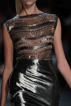 Paco Rabanne    elegant classy beautiful formal casual fashion dress style skirt mini gold silver copper bronze shiny sleeveless