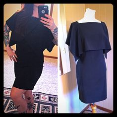 Calvin Klein LBD Perfect little black dress! Size 12 true to size. Has cape like top and front pockets. Excellent condition Calvin Klein Dresses