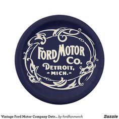 Vintage Ford Motor Company Detroit Retro Cool Logo Paper Plate