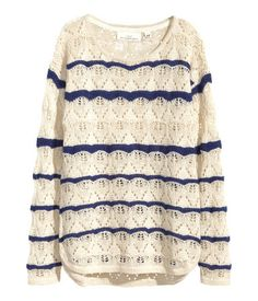 Natural White/Striped Pattern-Knit Sweater