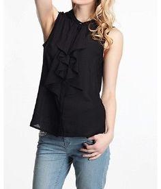 XS-L New Black Chiffon Womens Lady Clothing Fashion Apparel Tops Ruffled Shirt | eBay