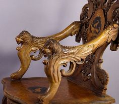 detail of finely carved and inlaid walnut chair with musical work, swiss 1900