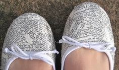 Shoe refashion: dictionary pages. can also be done with maps, and perhaps newspaper???