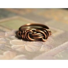 Handcrafted Copper Knotted Ring, Size 10