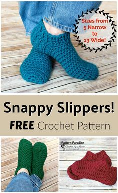 Free Crochet Pattern: Snappy Slippers Pattern Paradise by Vickie Bell Easy Crochet Slippers, Crochet Slipper Boots, Crochet Socks Pattern, Crochet Stitches, Crochet Patterns, Booties Crochet, Crochet Accessories Free Pattern, Felted Slippers, Slipper Socks