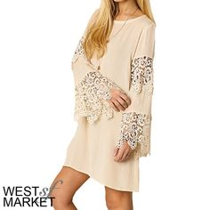 "Lace Bell-Sleeve Dress Be the embodiment of Spring in this beautiful lace dress! The flattering natural color highlights every skin tone, and the bell sleeves put this right on-trend! Measurements: Small- size 2/4, bust: 35-36"", waist: 27-28"", hip: 36-37""; Medium: size 6/8, bust: 37-38"", waist:29-30"", hip: 38-39""; Large: 10/12, bust: 39-40"", waist: 31-32"", hip: 40-41"". West Market SF Dresses Midi"