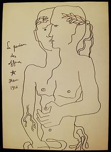 """Surreal Ink Drawing """"man with two faces"""" Signed Jean Cocteau ..."""