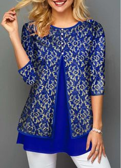 Womens Casual Tops Hot Stamping Faux Two Piece Lace Panel T Shirt Vintage Furniture Wedding, Big Girl Fashion, Women's Fashion, Trendy Tops For Women, Crochet Cardigan Pattern, Indian Designer Outfits, Long Sleeve Turtleneck, Couture, T Shirt