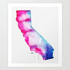 Vibrant Pink Blue Purple California Love  State by MoonDaughterArt