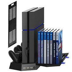 Buy Kootek Vertical Stand for Slim / Regular PlayStation 4 Cooling Fan Controller Charging Station with Game Storage and Dualshock Charger ( Not for Pro ) at Discounted Prices ✓ FREE DELIVERY possible on eligible purchases. Playstation 4 Console, Playstation Games, Ps4 Games, Games Consoles, Nintendo Ds, Nintendo Switch, Xbox One, Killzone Shadow Fall, Microsoft