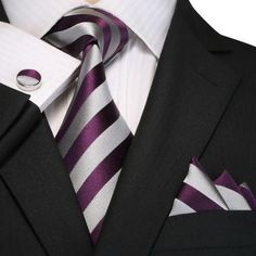 Purple and Gray Striped Necktie Set JPM18A98